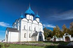 诞生的大教堂在苏兹达尔克里姆林宫 库存图片