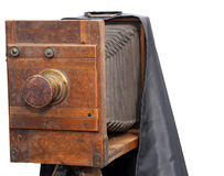 上个世纪的摄影师使用的葡萄酒照相机 库存照片
