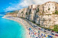 特罗佩亚全景,卡拉布里亚,意大利 免版税库存图片