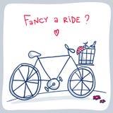 Χαριτωμένο σκίτσο του ποδηλάτου με το καλάθι, σχέδιο καρτών βαλεντίνων Στοκ Εικόνες