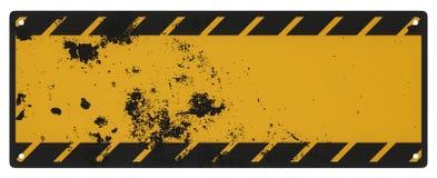 被隔绝的空白的脏的黑和黄色小心标志 库存图片