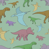 Картина вектора безшовная с красочными динозаврами Стоковая Фотография