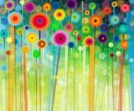 抽象花水彩绘画 库存照片