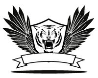 与翼的老虎徽章 图库摄影