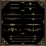金子规则线和装饰品 库存图片