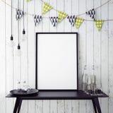 Χλεύη επάνω στην αφίσα στο εσωτερικό υπόβαθρο με τη διακόσμηση κομμάτων, Στοκ Εικόνες