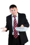 生意人惊奇的年轻人 免版税库存图片