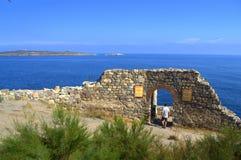 古老堡垒废墟,索佐波尔 库存图片