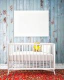 与嘲笑海报,行家设计的婴孩床, 免版税库存图片