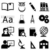 Εικονίδια εκπαίδευσης, εκμάθησης και σχολείων Στοκ Εικόνα