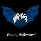 Карточка хеллоуина с замком Стоковые Фотографии RF