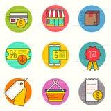 Αγορές και λιανικό σύνολο εικονιδίων Στοκ φωτογραφία με δικαίωμα ελεύθερης χρήσης