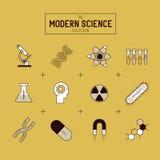 Χρυσό διανυσματικό σύνολο εικονιδίων επιστήμης Στοκ Φωτογραφίες