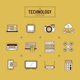 Διανυσματικό σύνολο εικονιδίων τεχνολογίας Στοκ Εικόνες