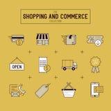 Αγορές και λιανικό σύνολο εικονιδίων Στοκ Εικόνες