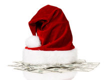 在美元的圣诞老人帽子 免版税库存照片