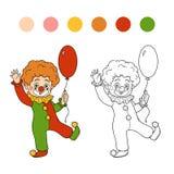 Книжка-раскраска для детей: Характеры хеллоуина (клоун) Стоковая Фотография