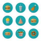 Дизайн значка фаст-фуда Плоские значки высококалорийной вредной пищи изолированные на белизне Стоковое фото RF