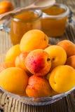 在玻璃碗和自创杏子酸辣调味品的新鲜的杏子 免版税库存照片