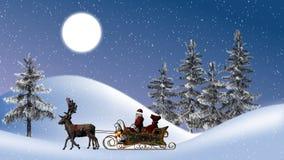 有驯鹿的圣诞老人和雪橇、月亮、树和降雪 免版税库存图片