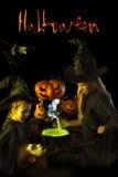 两小巫婆在万圣夜烹调一种魔药 免版税图库摄影