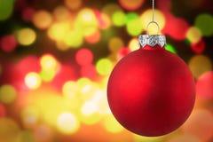 金黄圣诞灯场面背景 免版税库存照片