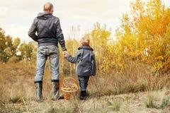 儿子和父亲有蘑菇充分的篮子的在森林沼地 库存照片