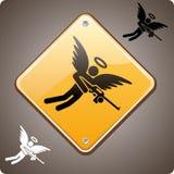 前面天使武装的警告 免版税库存照片