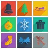 Комплект рождества с концепцией тени плоской современной Стоковые Изображения