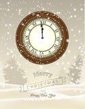 计时显示一分钟到十二,新年 免版税库存照片