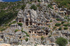 一个罗马寺庙的遗骸在代姆雷迈拉,土耳其 免版税库存照片