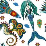 手拉的装饰美人鱼,海象童话 免版税库存照片