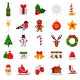 套平的圣诞节象 假日标志和标志 库存图片
