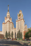 罗蒙诺索夫莫斯科国立大学主楼麻雀山的 免版税库存照片