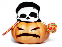 万圣夜假日传统可怕微笑的桔子 免版税图库摄影