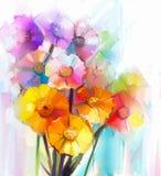 春天花抽象油画  黄色,桃红色和红色大丁草静物画  免版税库存照片