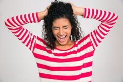 尖叫美国黑人的妇女的画象  免版税库存图片