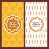金黄麦子耳朵无缝的样式和商标设计 库存图片