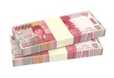 Деньги индонезийской рупии изолированные на белой предпосылке Стоковая Фотография RF