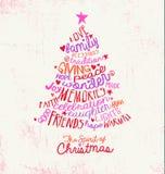 手写的词云彩圣诞树贺卡设计 库存照片
