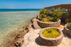 与海和棕榈树的海视图在海滩埃及 免版税库存图片