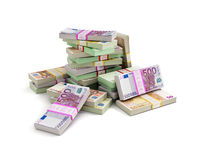 欧元金钱堆 免版税库存图片