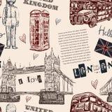 Άνευ ραφής σχέδιο με τα σύμβολα ορόσημων του Λονδίνου Εκλεκτής ποιότητας συρμένη χέρι διανυσματική απεικόνιση Στοκ εικόνα με δικαίωμα ελεύθερης χρήσης