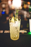 Питье коктеиля освежения спиртное на местном баре Коктеиль джина и известки с розмариновым маслом и льдом служил холод Стоковая Фотография