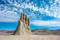 手雕塑,阿塔卡马沙漠,智利 免版税图库摄影