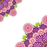 抽象桃红色紫色坛场 花卉装饰边 免版税库存图片
