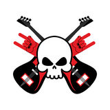 有吉他和岩石手标志的头骨 摇滚乐队的商标 日志 免版税库存图片