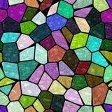 完整色彩的石大理石不规则的在黑水泥的马赛克无缝的样式纹理 免版税库存照片