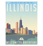 葡萄酒样式芝加哥伊利诺伊地平线旅行海报  免版税图库摄影