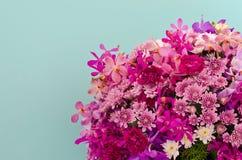 紫色花装饰对浅兰的墙壁 免版税图库摄影